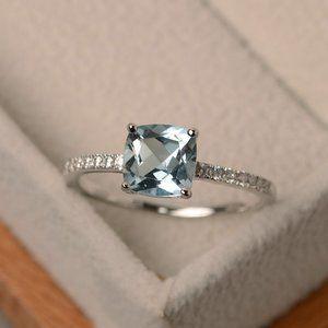 925 Silver Aquamarine Diamond Cushion Cut Ring